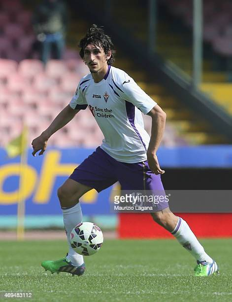 Stefan Savic of Fiorentina during the Serie A match between SSC Napoli and ACF Fiorentina at Stadio San Paolo on April 12 2015 in Naples Italy