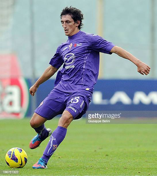 Stefan Savic of Fiorentina in action during the Serie A match between ACF Fiorentina and Atalanta BC at Stadio Artemio Franchi on November 18 2012 in...