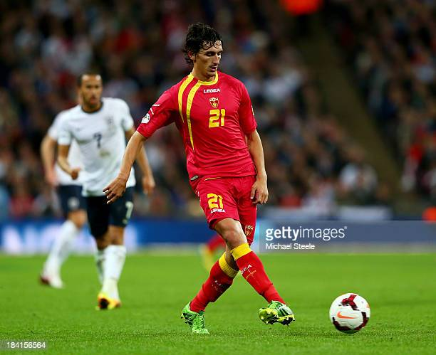 Stefan Savic of Montenegro in action during the FIFA 2014 World Cup Qualifying Group H match between England and Montenegro at Wembley Stadium on...