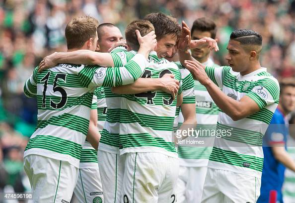 Stefan Scepovic celebrates his goal for Celtic with team mates during the Scottish Premiership match between Celtic and Inverness Caley Thistle at...