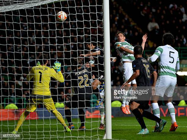 Stefan Scepovic of Celtic scores a his goal during the UEFA Europa League group D match between Celtic FC and FC Astra Giurgiu at Celtic Park on...