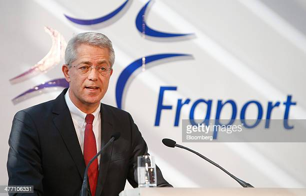 Stefan Schulte chief executive officer of Fraport AG the operator of Frankfurt Airport speaks as Fraport announce their results at the company's...