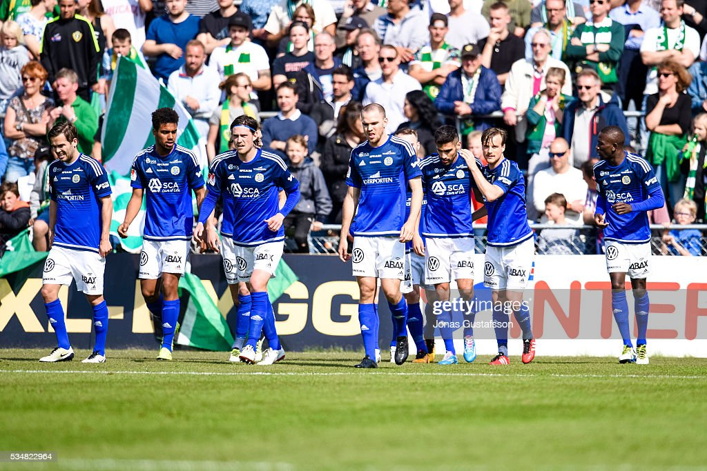 Stefan Silva of GIF Sundsvall scores the opening goal to GIF Sundsvall during the allsvenskan match between Jonkopings Sodra IF and GIF Sundsvall at Stadsparksvallen on May 28, 2016 in Jonkoping, Sweden.