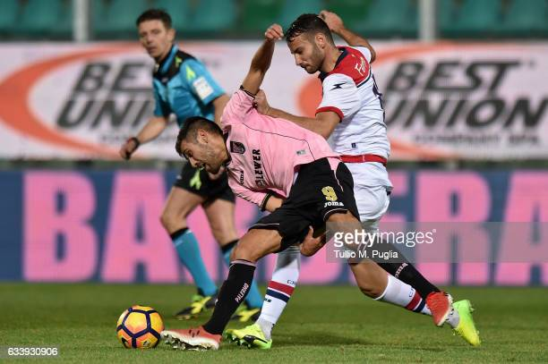 Stefan Silva of Palermo and Gian Marco Ferrari of Crotone compete for the ball during the Serie A match between US Citta di Palermo and FC Crotone at...