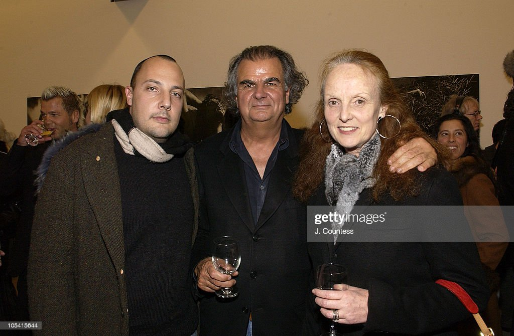 Stefan Simchowitz Patrick Demarchelier and guest during Pirelli 2005 Calendar Release Party with Patrick Demarchelier at Tony Shafrazi Gallery in New...