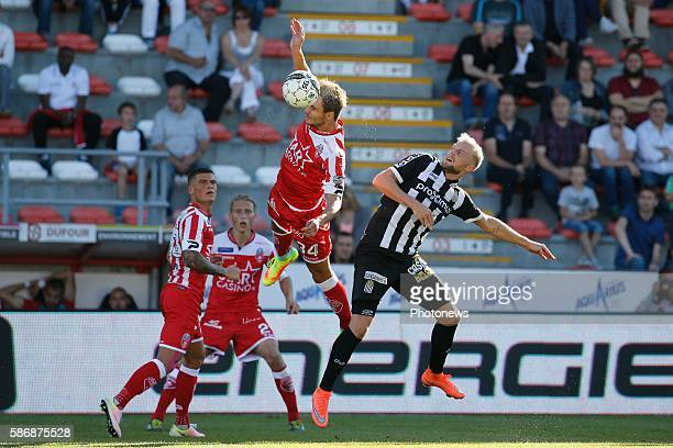 Stefan Simic defender of Royal Excel Mouscron and David Pollet forward of Sporting Charleroi pictured during the Jupiler Pro League match between...