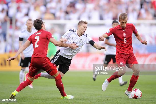 Stefan Simic Mitchell Weiser Tomas Soucek during the UEFA European Under21 match between Germany and Czech Republic on June 18 2017 in Tychy Poland