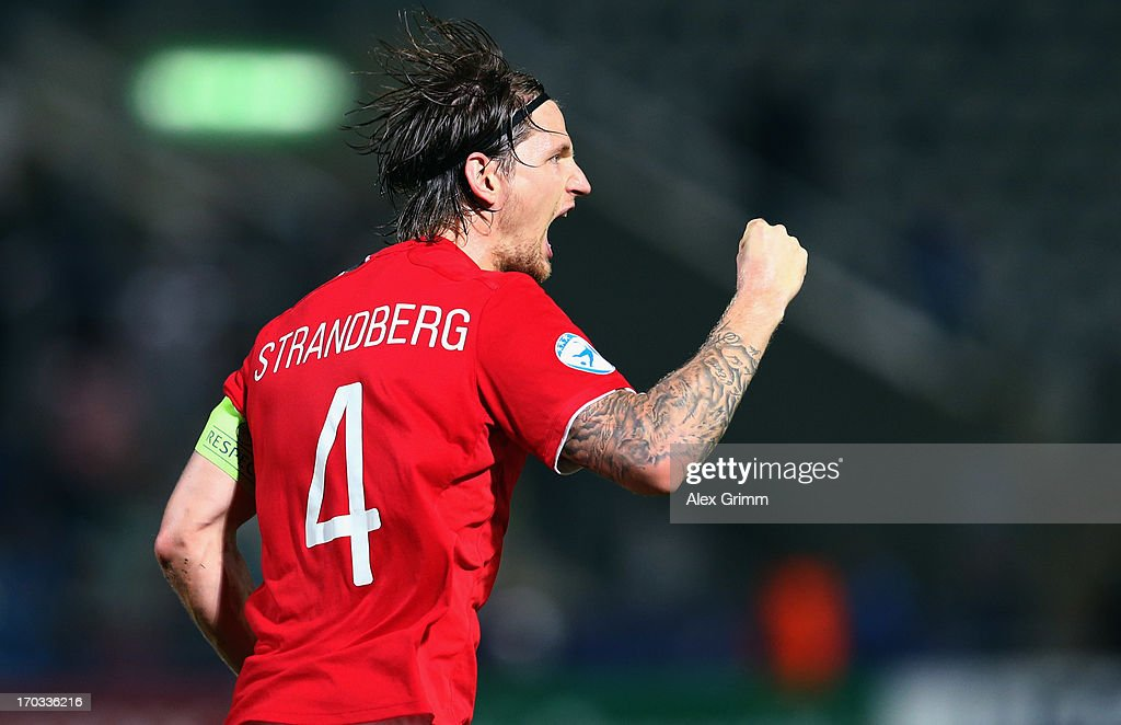 Stefan Strandberg of Norway celebrates his team's first goal during the UEFA European U21 Championship Group A match between Norway and Italy at Bloomfield Stadium on June 11, 2013 in Tel Aviv, Israel.