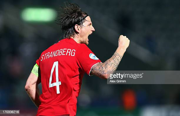 Stefan Strandberg of Norway celebrates his team's first goal during the UEFA European U21 Championship Group A match between Norway and Italy at...
