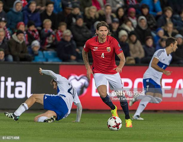 Stefan Strandberg of Norway Luca Tosi Cristian Brolli of San Marino during the FIFA 2018 World Cup Qualifier between Norway and San Marino at...