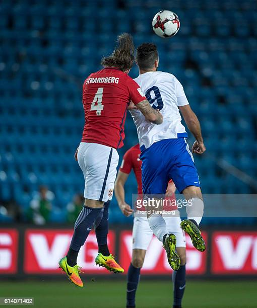 Stefan Strandberg of Norway Mattia Stefanelli of San Marino during the FIFA 2018 World Cup Qualifier between Norway and San Marino at Ullevaal...
