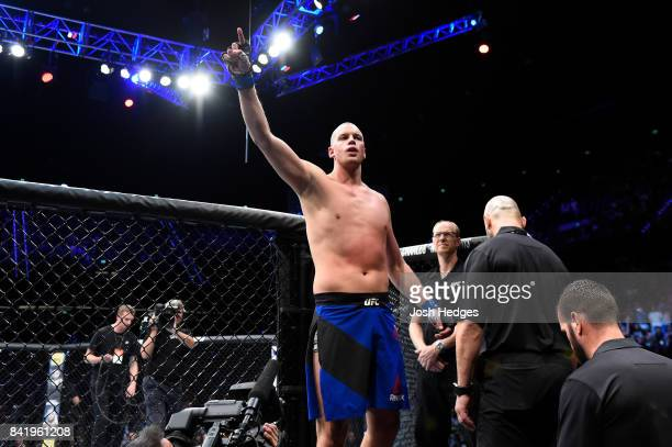 Stefan Struve of The Netherlands waves to the crowd before facing Alexander Volkov of Russia in their heavyweight bout during the UFC Fight Night...