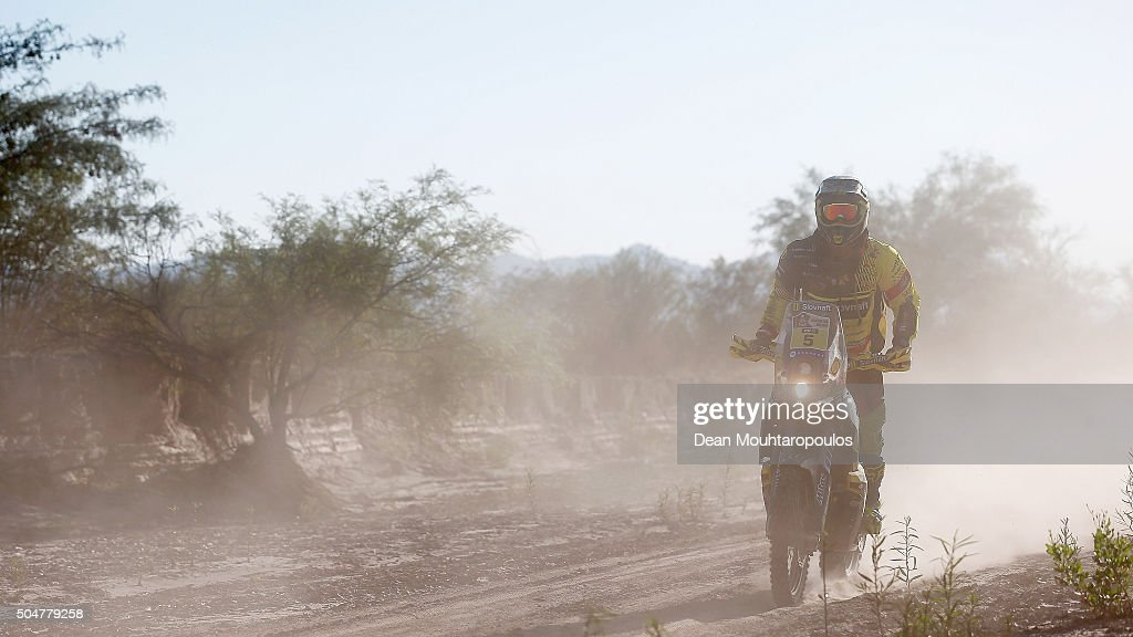 Stefan Svitko of Slovakia riding on and for KTM 450 RALLY REPLICA SLOVNAFT TEAM competes on day 10 stage 9 during the 2016 Dakar Rally on January 12, 2016 in near Belen, Argentina.