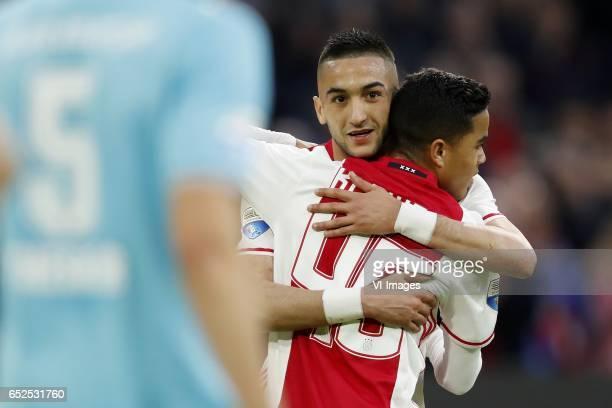 Stefan Thesker of FC Twente Hakim Ziyech of Ajax Justin Kluivert of Ajaxduring the Dutch Eredivisie match between Ajax Amsterdam and FC Twente...