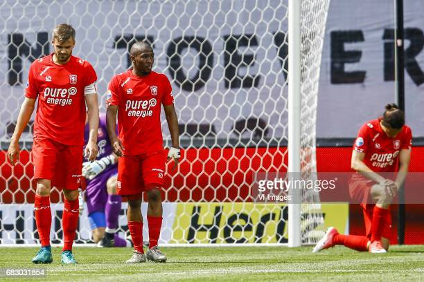Stefan Thesker of FC Twente Kamohelo Mokotjo of FC Twente Enes Unal of FC Twenteduring the Dutch Eredivisie match between FC Twente and FC Groningen...