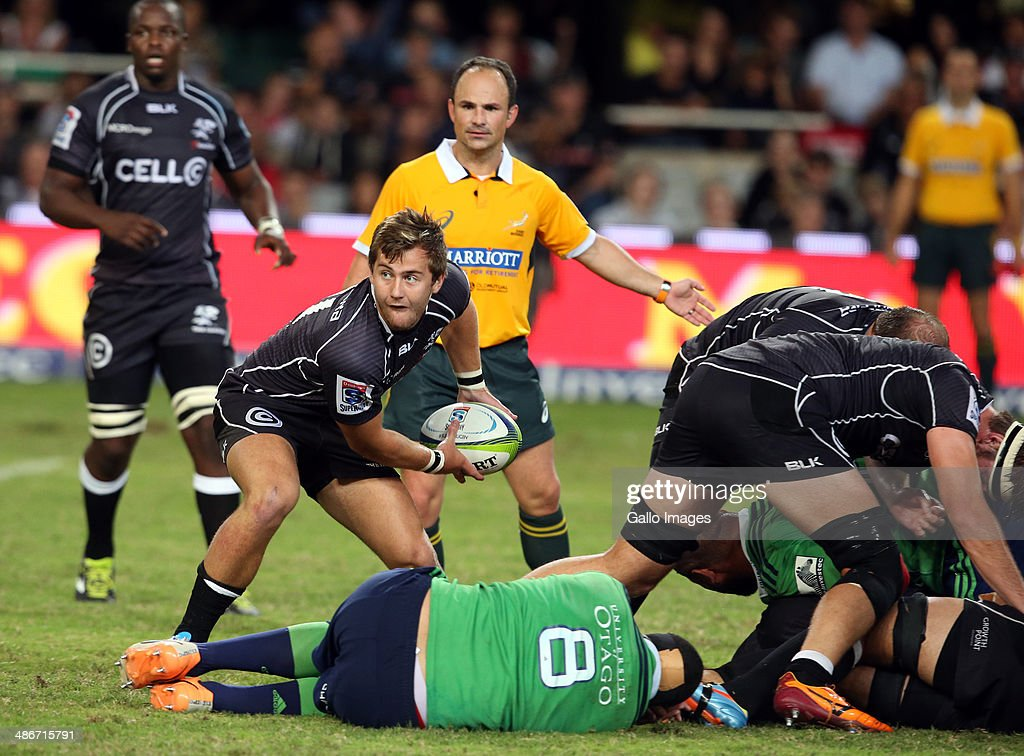 Stefan Ungerer of the Cell C Sharks during the Super Rugby match between Cell C Sharks and Highlanders at Growthpoint Kings Park on April 25 2014 in...
