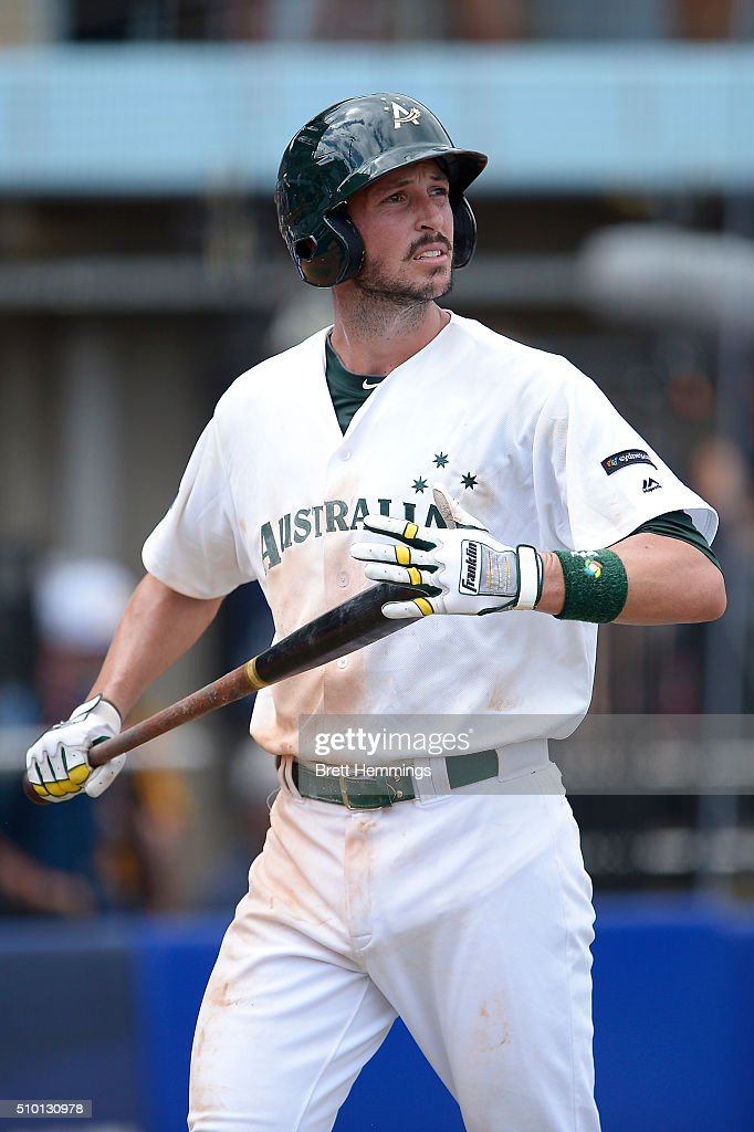 Stefan Welch of Australia looks on during the World baseball Classic Final match between Australia and South Africa at Blacktown International Sportspark on February 14, 2016 in Sydney, Australia.