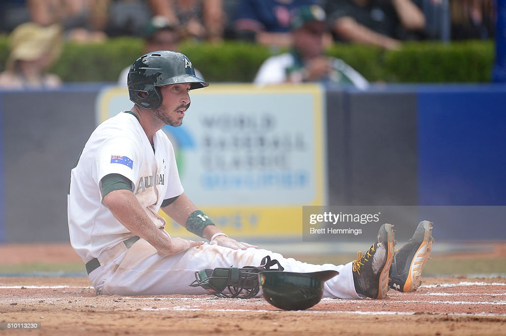 Stefan Welch of Australia reacts after being run out on home base during the World baseball Classic Final match between Australia and South Africa at Blacktown International Sportspark on February 14, 2016 in Sydney, Australia.