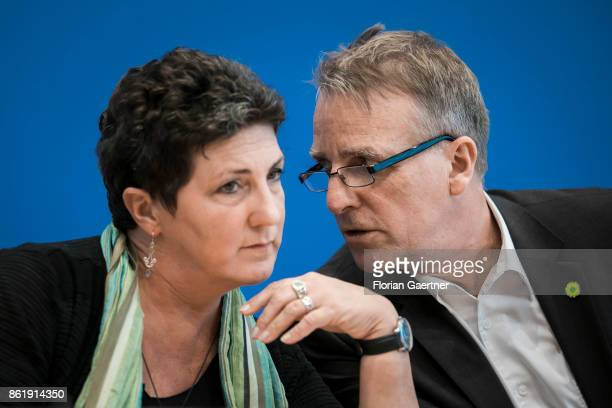 Stefan Wenzel and Anja Piel leading candidates of Alliance 90/The Greens for the election in Lower Saxony are pictured during a press conference on...