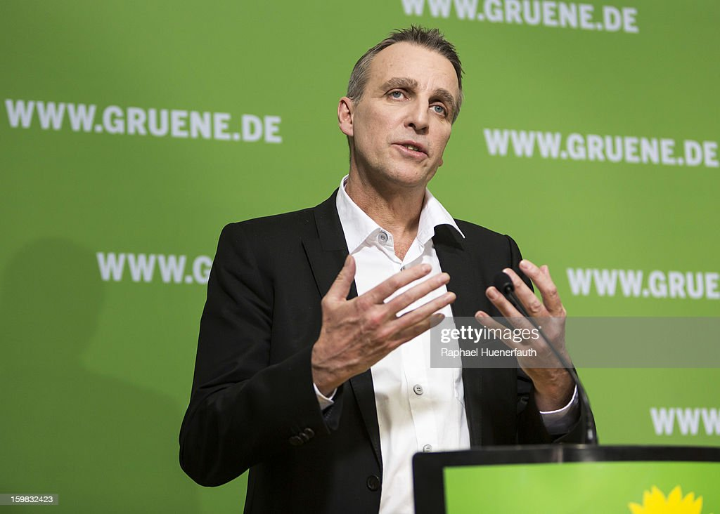 Stefan Wenzel, at a press conference, candidate in Lower Saxony for the German Greens, the day after the German Social Democrats (SPD) and German Greens party emerged with a hairline victory in Lower Saxony on January 21, 2013 in Berlin, Germany. The result of the German Greens is the best result they have had to date and Germany will face their national elections later this year.