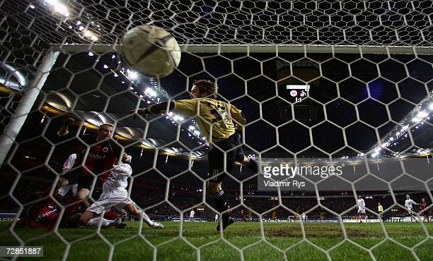 Stefan Wessels of Cologne concedes a goal from Nahohiro Takahara during the extra time of the DFB German Cup third round match between Eintracht...