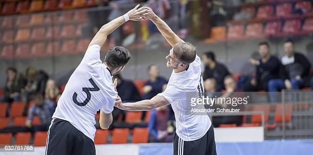 Stefan Winkel of Germany celebrates the second goal for his team with Michael Meyer of Germany during the UEFA Futsal European Championship...