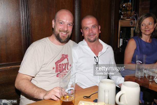Stefan Zinner and Maximilian Bezzel during the 'Griessnockerlaffaere' premiere after party at 'Wirtshaus Zum Straubinger' on August 1 2017 in Munich...