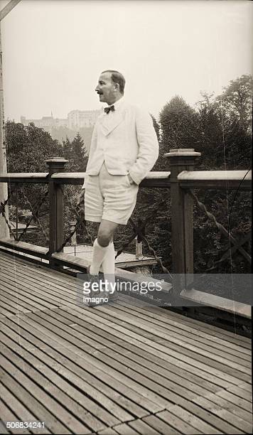 Stefan Zweig austrian author on the terrace of his house at Kapuzinerberg Salzburg Photograph About 1933