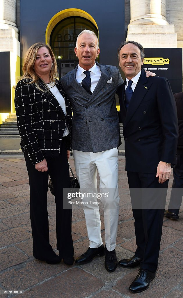 Stefania Alessandri, Guido Bagatta and Nerio Alessandri attend the Technogym Listing Ceremony at Palazzo Mezzanotte on May 3, 2016 in Milan, Italy. Technogym is the world leader in the construction of equipment for gyms, founded in 1983 by Nerio Alessandri, and was listed today on the Milan Stock Exchange.