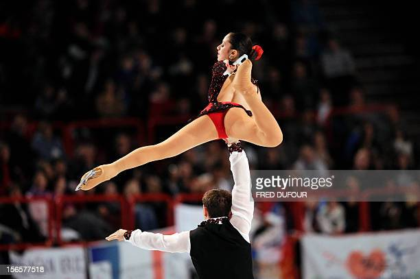 Stefania Berton and Ondrej Hotarek of Italy compete in their pairs free skating program during the Trophee Eric Bompard event the fifth in the...