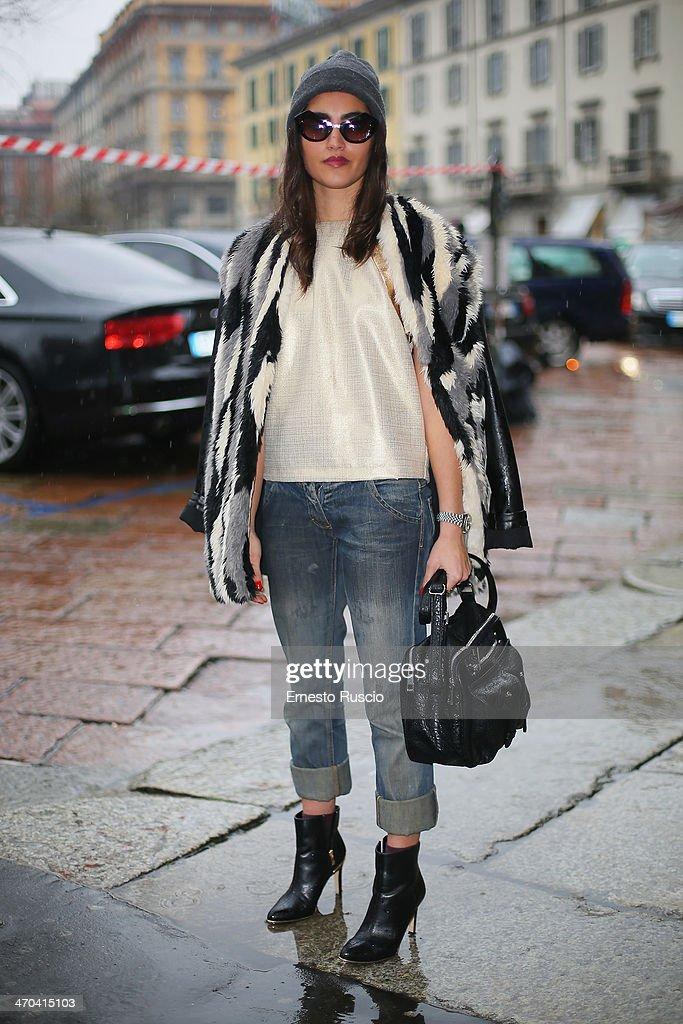 Stefania Fugiani wears AB positive total look on day 1 of Milan Fashion Week Womenswear Autumn/Winter 2014 on February 19, 2014 in Milan, Italy.