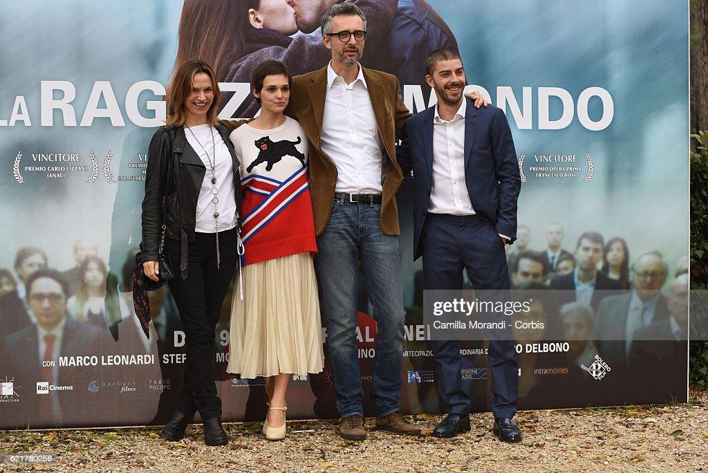 Stefania Montorsi, Sara Serraiocco, Marco Danieli and Michele Riondino attend a photocall for 'La Ragazza Del Mondo' on November 8, 2016 in Rome, Italy.