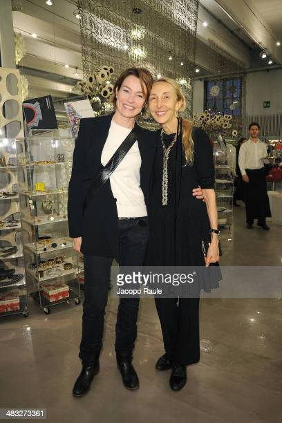 Stefania Rocca and Carla Sozzani attend 'Safilo By Marc Newson' Presentation on April 7 2014 in Milan Italy