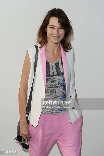 Stefania Rocca arrives at the Costume National Homme show as part of Milan Fashion Week Menswear Spring/Summer 2013 on June 23 2012 in Milan Italy