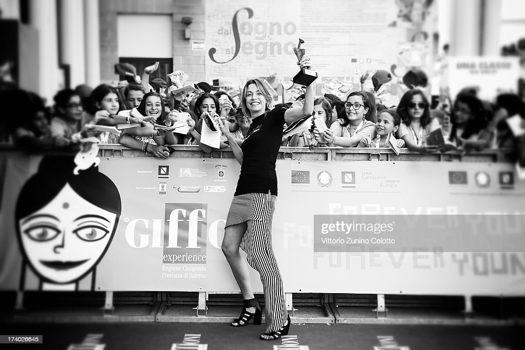 Stefania Rocca attends 2013 Giffoni Film Festival blue carpet on July 19 2013 in Giffoni Valle Piana Italy