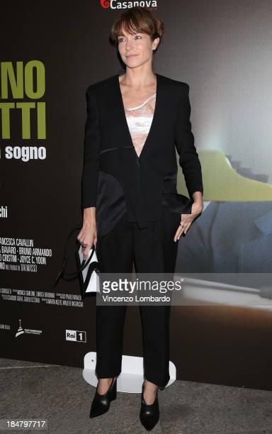 Stefania Rocca attends the preview of film 'Adriano Olivetti La forza di un sogno' on October 16 2013 in Milan Italy