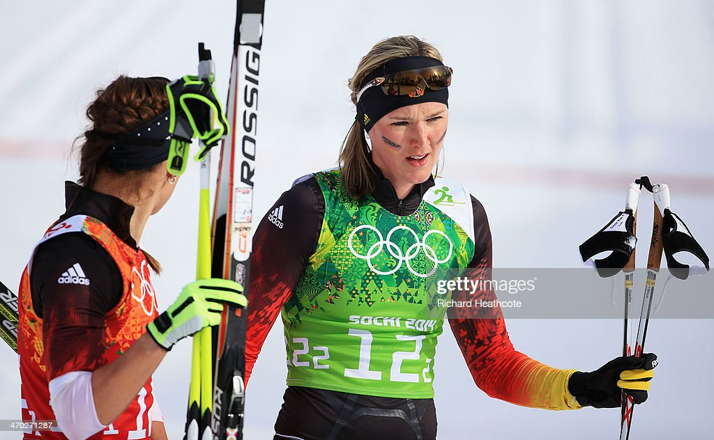 <a gi-track='captionPersonalityLinkClicked' href=/galleries/search?phrase=Stefanie+Boehler&family=editorial&specificpeople=702776 ng-click='$event.stopPropagation()'>Stefanie Boehler</a> (L) of Germany and <a gi-track='captionPersonalityLinkClicked' href=/galleries/search?phrase=Denise+Herrmann&family=editorial&specificpeople=6670680 ng-click='$event.stopPropagation()'>Denise Herrmann</a> of Germany react after the Women's Team Sprint Classic Final during day 12 of the 2014 Sochi Winter Olympics at Laura Cross-country Ski & Biathlon Center on February 19, 2014 in Sochi, Russia.