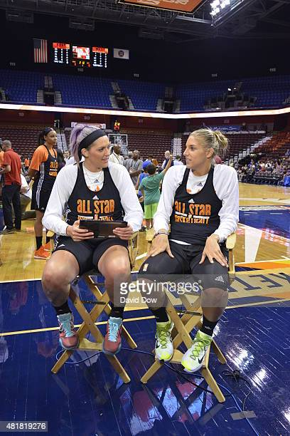 Stefanie Dolson and Elena Delle Donne of the Eastern Conference AllStars talk during Media Availability at the Mohegan Center Arena on July 24 2015...