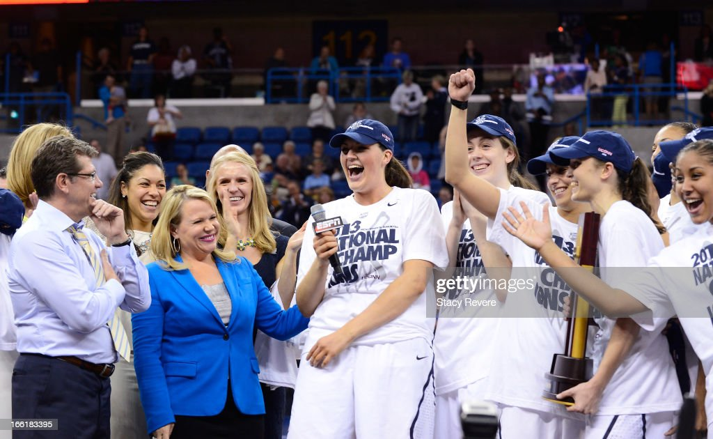 Stefanie Dolson #31 of the Connecticut Huskies celebrates with teammates after defeating the Louisville Cardinals during the 2013 NCAA Women's Final Four Championship at New Orleans Arena on April 9, 2013 in New Orleans, Louisiana.