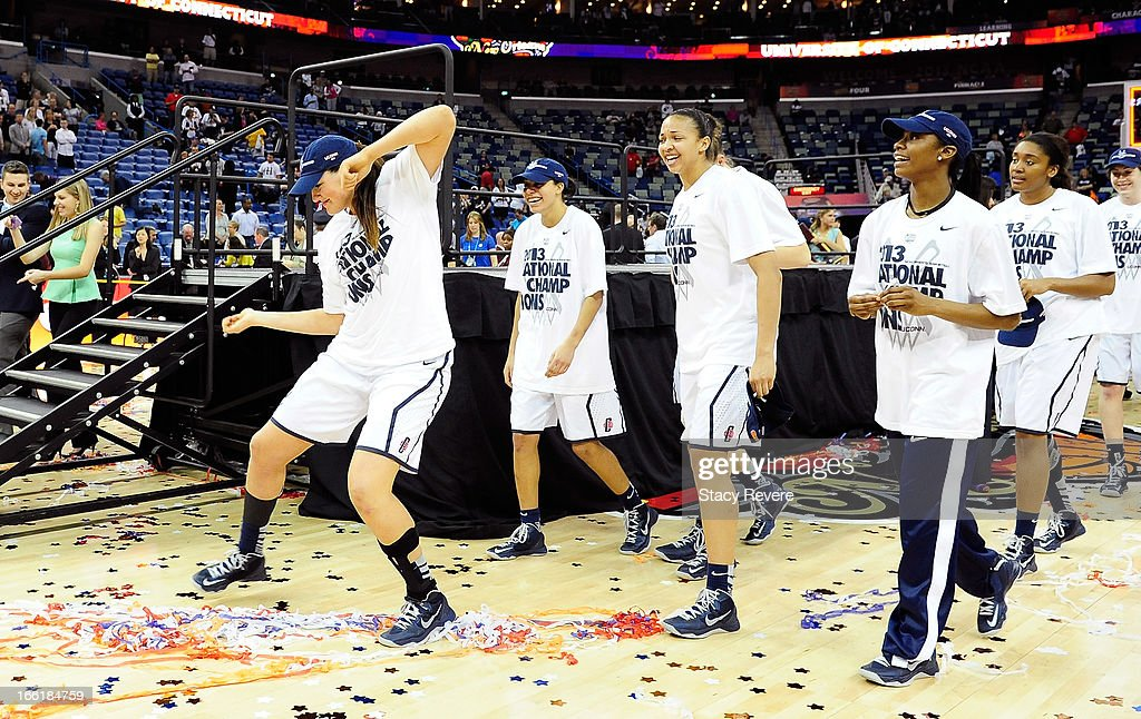 Stefanie Dolson #31 of the Connecticut Huskies dances with teammates after defeating the Louisville Cardinals during the 2013 NCAA Women's Final Four Championship at New Orleans Arena on April 9, 2013 in New Orleans, Louisiana.