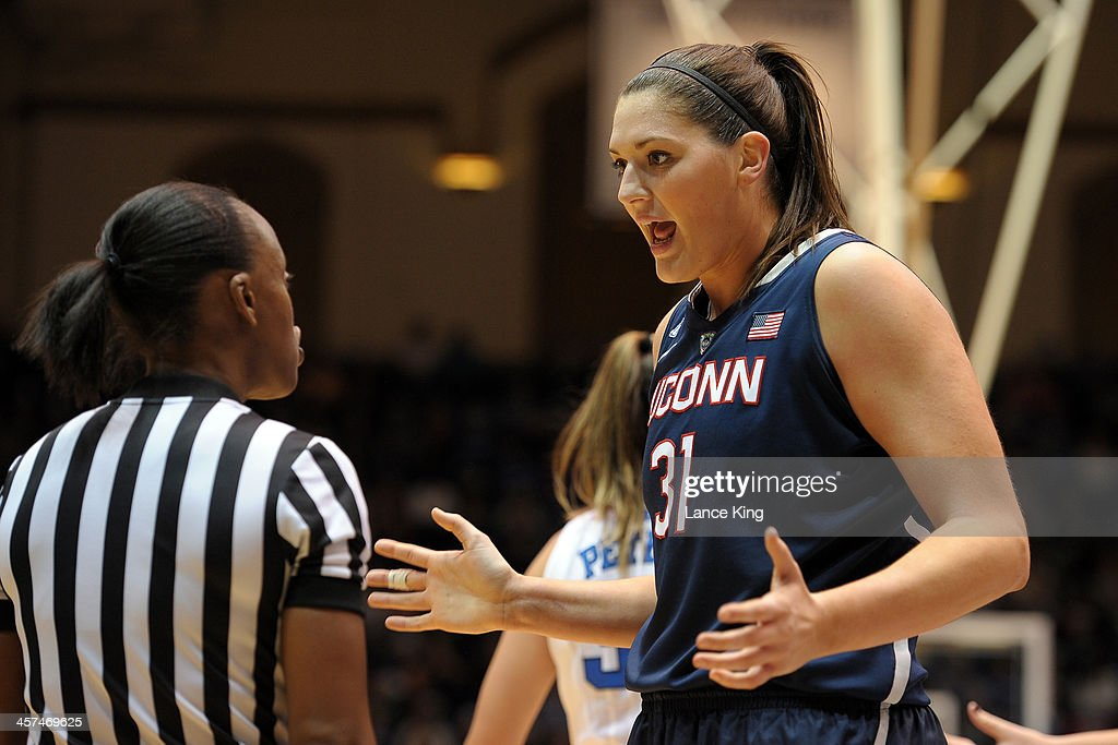 Stefanie Dolson #31 of the Connecticut Huskies disagrees with a foul call against the Duke Blue Devils at Cameron Indoor Stadium on December 17, 2013 in Durham, North Carolina. Connecticut defeated Duke 83-61.