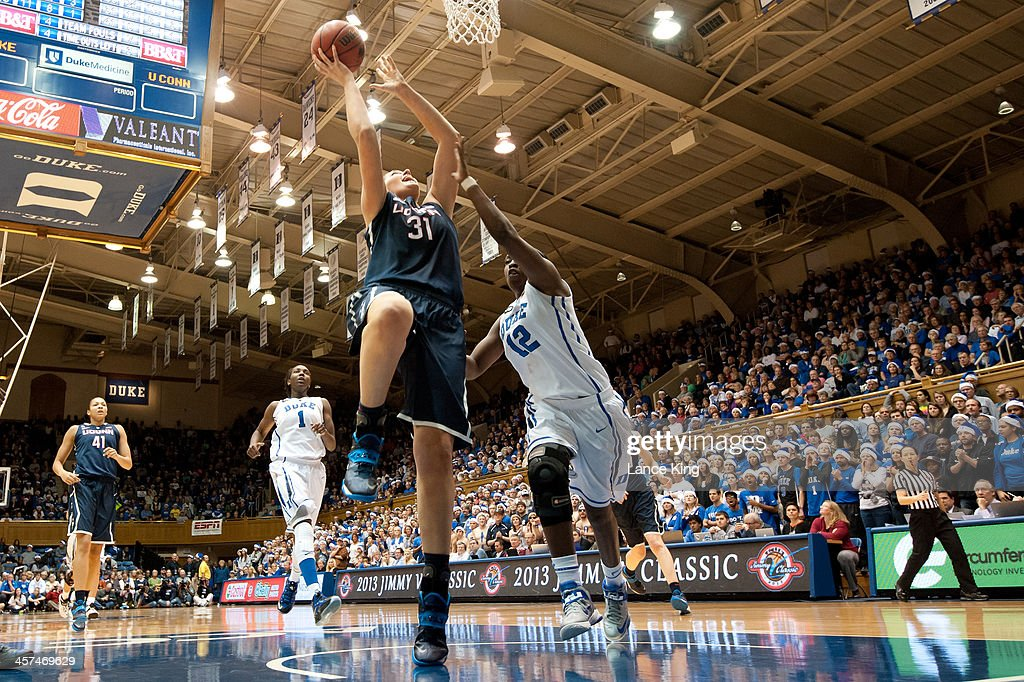 Stefanie Dolson #31 of the Connecticut Huskies goes to the hoop against the Duke Blue Devils at Cameron Indoor Stadium on December 17, 2013 in Durham, North Carolina. Connecticut defeated Duke 83-61.
