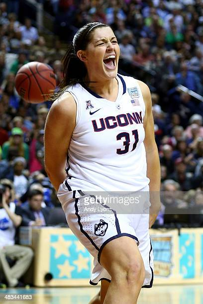 Stefanie Dolson of the Connecticut Huskies reacts after a play at the net against the Notre Dame Fighting Irish in the second half during the NCAA...
