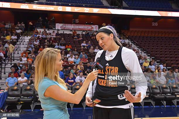 Stefanie Dolson of the Eastern Conference AllStars talks to the media during Media Availability at the Mohegan Center Arena on July 24 2015 in...