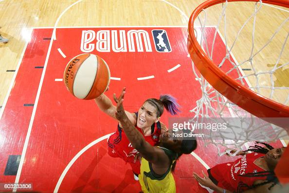 Stefanie Dolson of the Washington Mystics and Crystal Langhorne of the Seattle Storm go after a rebound on September 9 2016 at Verizon Center in...