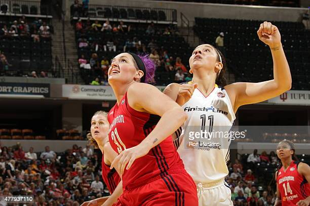Stefanie Dolson of the Washington Mystics boxes out against Natalie Achonwa of the Indiana Fever in a WNBA game on June 20 2015 at Bankers Life...