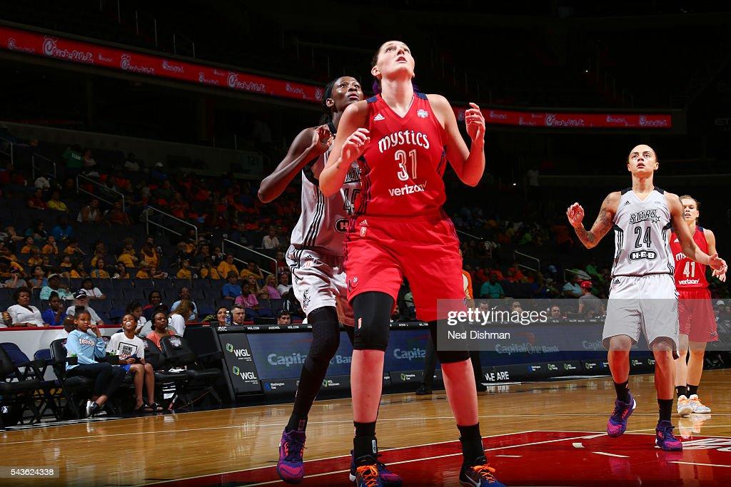 Stefanie Dolson #31 of the Washington Mystics fights for position against Astou Ndour #45 of the San Antonio Stars on June 29, 2016 at the Verizon Center in Washington, DC.