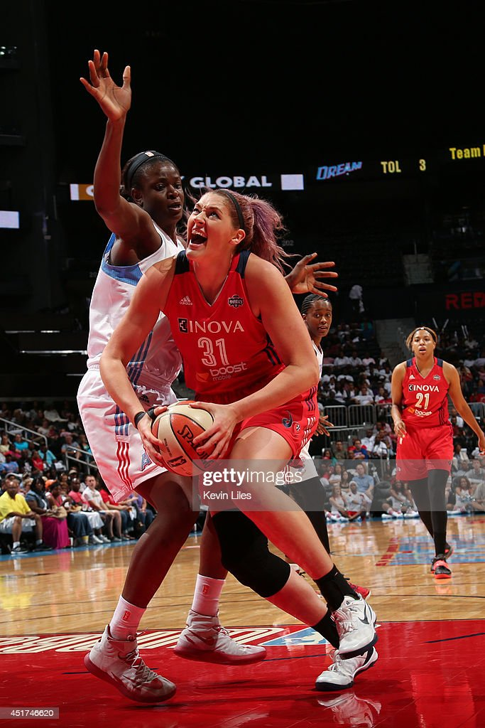Stefanie Dolson #31 of the Washington Mystics handles the ball against the Atlanta Dream at Philips Arena on July 5, 2014 in Atlanta, Georgia.