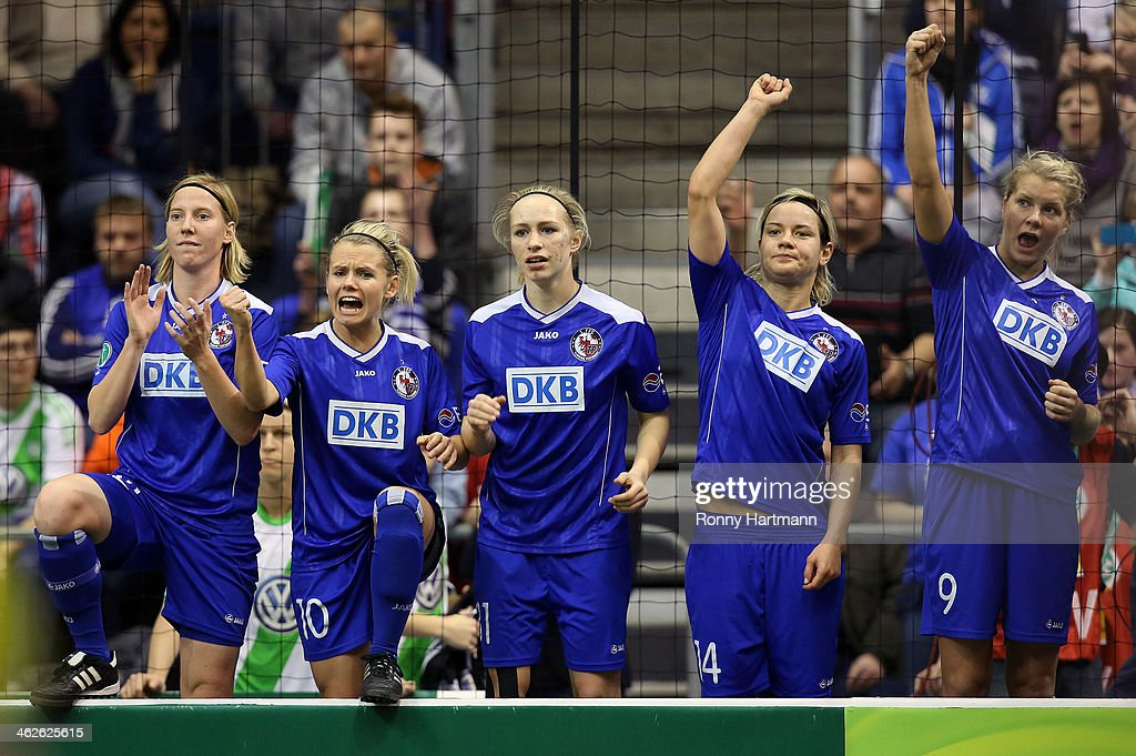 Stefanie Draws, Julias Simic, Pauline Bremer, Jennifer Zietz and Ada Hegerberg of 1. FFC Turbine Potsdam react during the DFB Women's Indoor Cup 2013 at GETEC-Arena on January 12, 2014 in Magdeburg, Germany.