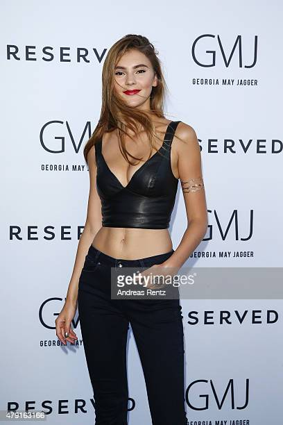 Stefanie Giesinger attends the RESERVED collection preview seated dinner at upside east on July 1 2015 in Munich Germany